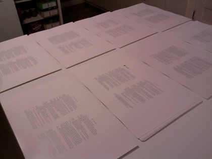 Sheets for collating.